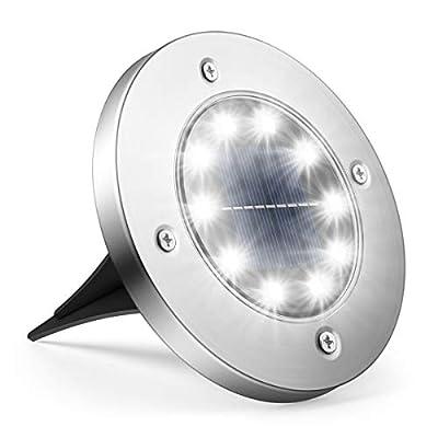 Solar Ground Lights, StarGinz 1 Pack Outdoor Solar Disk Lights 10 Led Waterproof Light-Controlled Lamp for Patio Pathway Landscape Garden Yard Driveway