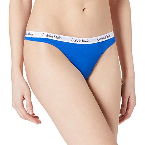 Calvin Klein Thong Carousel Tanga, Tetera Azul, S para Mujer