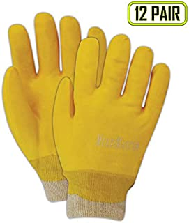 MAGID T1170 MultiMaster Smooth Finish PVC Gloves with Knit Cuff, Standard, Yellow (12 Pair)