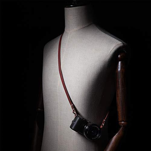 CANPISネックストラップ本革一眼レフ用ストラップ長さ103cm長さ調整不可ブラウンCP003