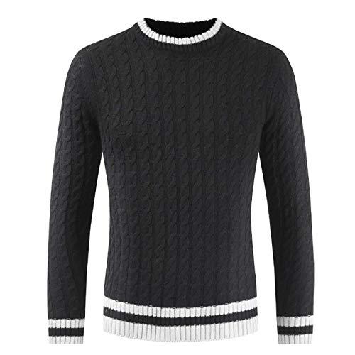 DerDer - Jersey de invierno para hombre con cuello redondo y cuello redondo
