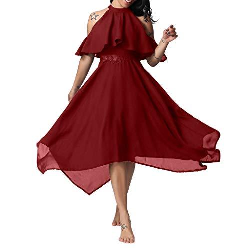 Shinehua Elegant chiffonjurk voor dames, zomerjurk, feestjurk, bruiloft, feestelijke jurk, A-lijn, korte mouwen, knielang, schoudervrij, avondjurk, elegant, onregelmatig hals, maxi-jurk