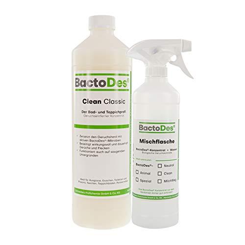 BactoDes Clean CLASSIC Reiniger und Geruchsentferner, Geruchsneutralisierer, Raumlufterfrischer, Geruchvernichter, 1L