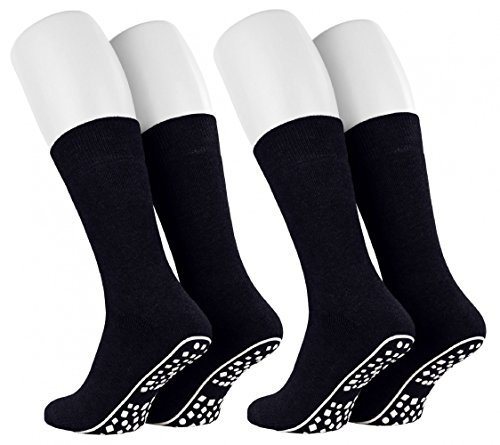 Tobeni 2 Paar Home Socks ABS Stoppersocken Anti-Rutsch Baumwolle Socken für Damen & Herren Farbe Marine Grösse 47-50