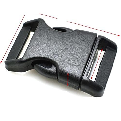 Correa curvada contorneada para pulsera Paracord y arnés de perro con hebilla de plástico, color negro, 50 unidades, tamaño de la correa de 25 mm