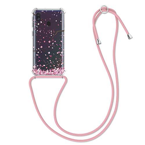kwmobile Hülle kompatibel mit Samsung Galaxy A40 - Silikon Handyhülle mit Kette - Rosa Dunkelbraun Transparent Kirschblütenblätter