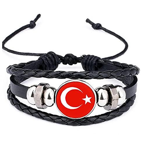 MaylFre 2018 Bandera Nacional de Turquía Encanto de la Pulsera de los brazaletes de Cuero Trenzado, Banderas de fútbol del Equipo Muñequera Mano Pulsera de la Venda