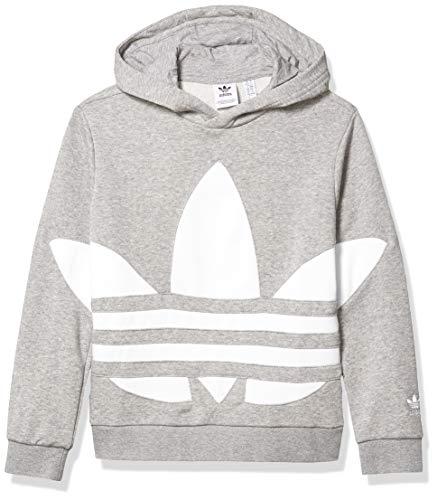 adidas Originals Boys' Big Big Trefoil Hoodie Sweatshirt, Medium Grey Heather/White, S