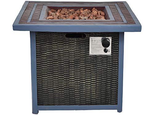 Traedgard Design Feuertisch Neapel mit Hülle, lodernder Flamme und Lavasteinen, gasbetrieben | Feuerstelle für Garten und Terasse mit Tischplatte Abstellmöglichkeit