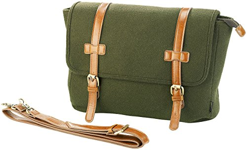 Carlo Milano Aktentasche: Messenger-Bag im Querformat, in Filz- & Leder-Optik (Business Tasche)