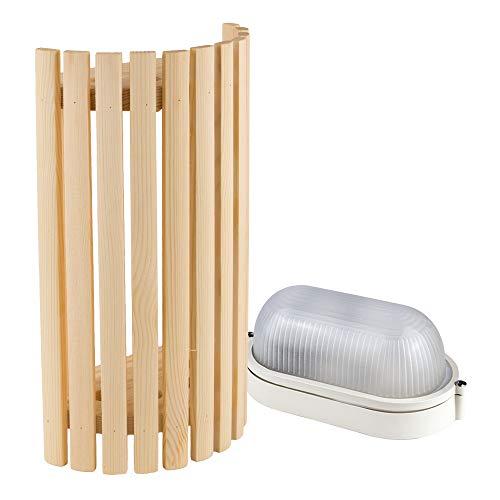 Sauna Beleuchtung Set Lampenschirm Sawo 914-VP aus Kiefer mit E27 IP54 Saunalampe und 5m Silikonkabel SiHF