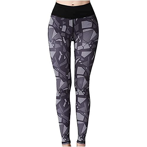QTJY Medias de Cintura Alta para Mujer, Pantalones Deportivos para Fitness, Pantalones de Yoga, Ajustados, para Correr, Entrenamiento, Mallas Push-up A XL