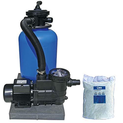well2wellness Pool Sandfilteranlage Poolfilter TOP 300 für Aufstellbecken und Pools bis 30 m³ Plus 1 x 20 kg Filterglas 0.5-1.0 mm