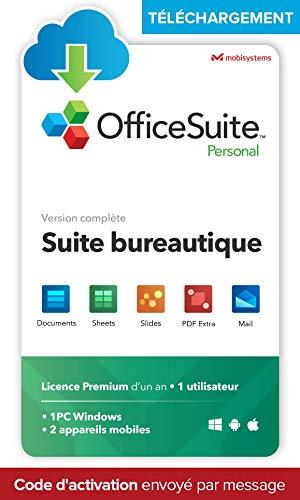 OfficeSuite Personal - TÉLÉCHARGEMENT/Licence en ligne - compatible avec Microsoft® Office Word®, Excel®, PowerPoint® et avec Adobe® PDF pour PC Windows 10, 8.1, 8, 7 – Licence d'un an, 1 utilisateur