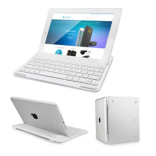 TECKNET Bluetooth Tastatur, Ultra Dünn Bluetooth 3.0 Keyboard Deutsche Layout QWERTZ für iPad Air 2, Magnetic Clip-On Hülle Folio Keyboard Smart Case Cover mit Auto Sleep/Wake