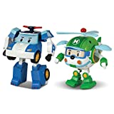 Robocar Poli 2 Pack Poli + Helly Transforming Robot, 4' Tramsformable Action Toy Figure