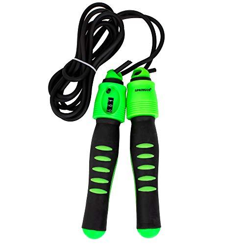 SPRINGOS Seilspringer Crossfit mit Zähler Kalorienzähler Speed Jump Grün Fitness Ausdauertraining Schnelligkeit Kraftsport Fettverbrenung