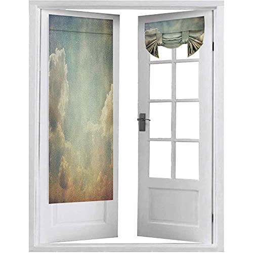 Persianas de puerta francesas, cielo mágico se ve como un espacio de ensueño con rayos solares, fotos de atmósfera celestial, 2 paneles, cortinas opacas de 66 x 172 cm, para privacidad, azul y blanco