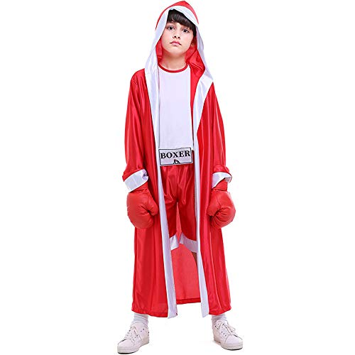 Kids Boys Boxing Costume Red Blue Boxer Cosplay with Boxing Gloves Robe Halloween Party Dress Decoration Role Playing Uniform Carnival (Red, M)