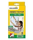 Schellenberg 51003 Mosquitera, protección anti insectos y moscas para ventanas ELASTIC, de color blanco-máx. 130 x 150, max. 130 x 150 cm