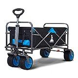 TOPWELL All-Terrain Wide Auto Wheels Faltbarer Rollwagen Integrierte Vorderräder und Zuggriff Gartenwagen Einkaufstrolley mit One-FußBremse Einfach zu steuern Strandwagen Maximale Belastung 120kg