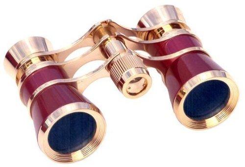 LaScala Optics AIDA Binocular 3X25 Central Focus Opera Glasses, Platinum Body, Silver Rings -