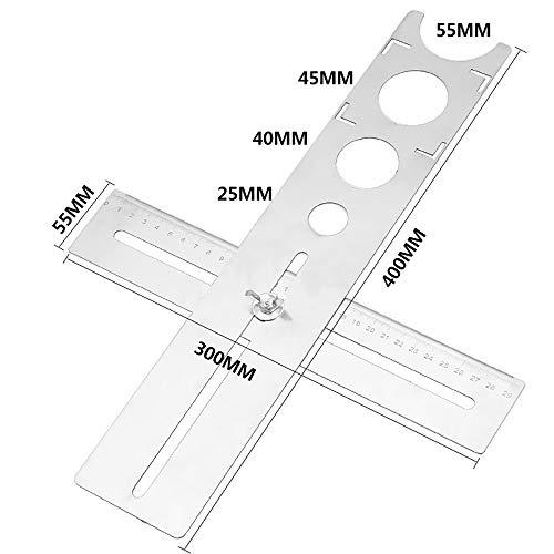 ALLOMN Multi Angle Messliniaal, tegel locator puncher aanglijder sjabloon gereedschap Multi Template instelbare gatzoeker roestvrij staal (centimeter)