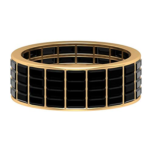4.50 CT Wide Eternity Band for Women with Baguette Created Black Diamond (AAAA Quality), 14K Yellow Gold, Size:UK H1/2