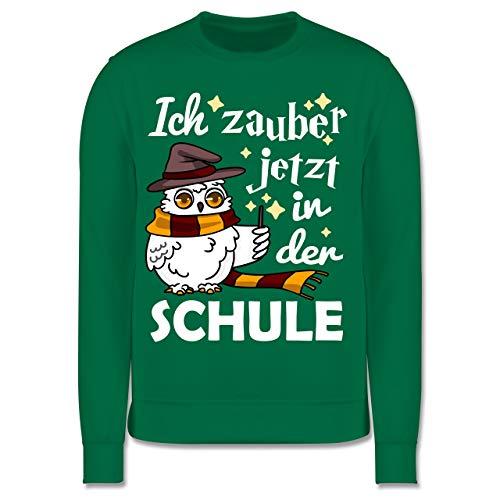 Shirtracer Einschulung und Schulanfang - Ich zauber jetzt in der Schule Eule mit Zauberstab - weiß - 116 (5/6 Jahre) - Grün JH030K - Kinder Pullover