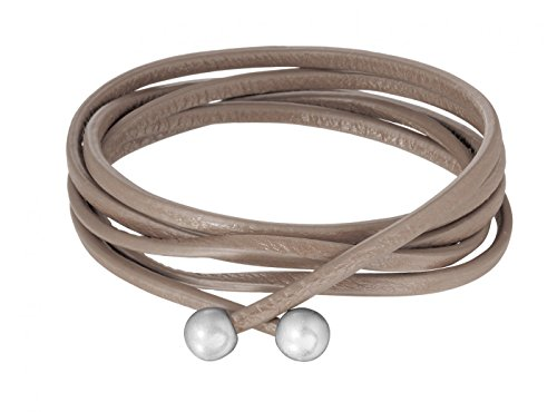 Signature Kette Essentials straps taupe leather worn silver von Sence Copenhagen