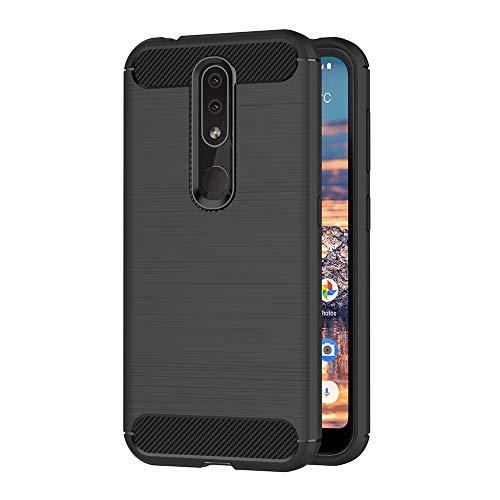 AICEK Compatible Nokia 4.2 Hülle, Schwarz Silikon Handyhülle für Nokia 4.2 Schutzhülle Karbon Optik Soft Hülle (5,71 Zoll)