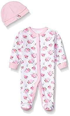 Luvable Friends Unisex Baby Cotton Preemie Sleep and Play and Cap, Floral, Preemie