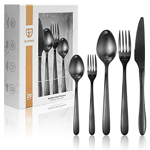20 Pieces Elegant Silverware Set - Black Stainless Steel Flatware Set with Ergonomic Design Size - Durable Eating Tableware Set, Cutlery Utensil Set Included Knives, Forks and Spoons (Service for 4)