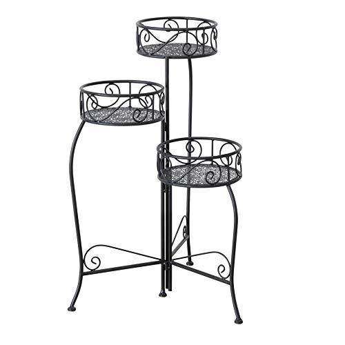 CasaJame 3 x Cache-Pots avec Structure Mtallique en Forme d'Escalier Shabby Chic Vintage 54x35x74cm