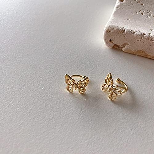 Clips de Oreja de Mariposa Huecos de Metal Vintage a la Moda para Mujeres niñas Lindas sin Piercing joyería de Oreja de cartílago Falso