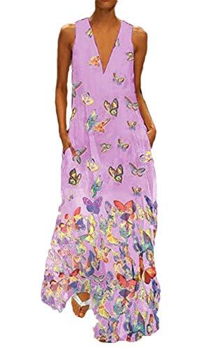 generisch JIER Damen ÄRmellos V-Ausschnitt BöHmen Blumen Maxikleid Lang Elegant Schick Große Größen Schmetterling Muster Leichte Kleider mit Tasche Beiläufig Maxi Tank Langes Kleid (Lila,XXX-Large)