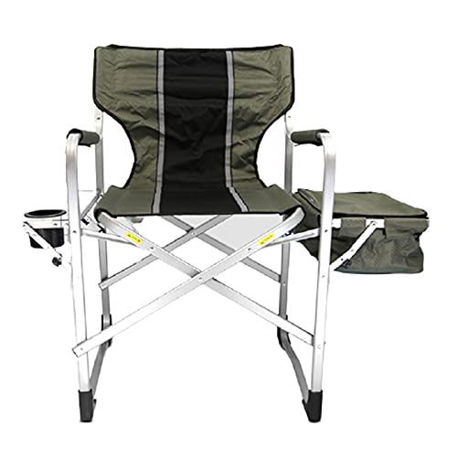 Taller Director Chair mit Armlehne Seitentisch Aufbewahrungstasche, Faltbarer Make-up-Künstlerstuhl-Hochleistung, unterstützt 300 Pfund, für Camping-Innen-Patio,Grün