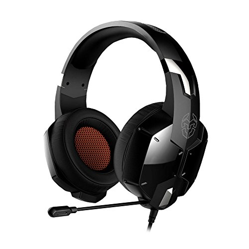 Krom Auricular Gaming KOPA -NXKROMKPST - Sonido Stereo, Altavoces 50mm, Diadema Ajustable, Micro Flexible, Jack 3.5 mm, Compatible Nintendo Switch, PS4,PS5, PC, Color Negro,Naranja