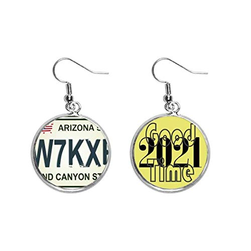 American Car Licence Number Pattern Pendientes Ear Pendants Jewelry 2021 Good Luck