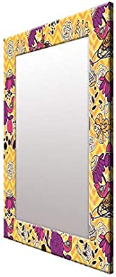 999Store Printed Purple& Yellow Floral Art Pattern Mirror
