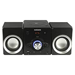 KEY FEATURES - Top loading CD player, total 10W RMS output (2 x 5W), programmable CD player, digital PLL FM stereo radio, EQ function, LED display, built-in USB port for audio playback, connect to any audio device via 3.5mm aux in port, AC operation....