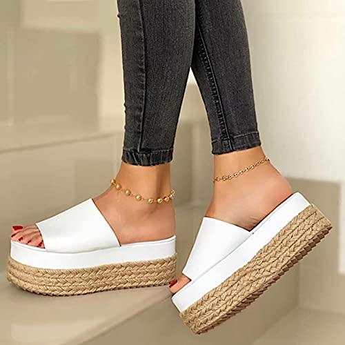 DZQQ Zapatillas de Mujer, cuñas, Zapatos de Tacones Informales Inferiores, Zapatos de Mujer Trenzados con Cuerda de cáñamo, Zapatillas de Playa, Sandalias Planas con Plataforma, Zapatos