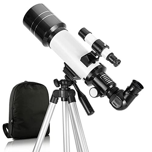 Teleskop, 70mm Blende 400mm AZ-Halterung Astronomisches brechendes Teleskop für Erwachsene Kinder Anfänger - Reiseteleskop mit Rucksack, 2X Barlow-Objektiv, Telefonadapter