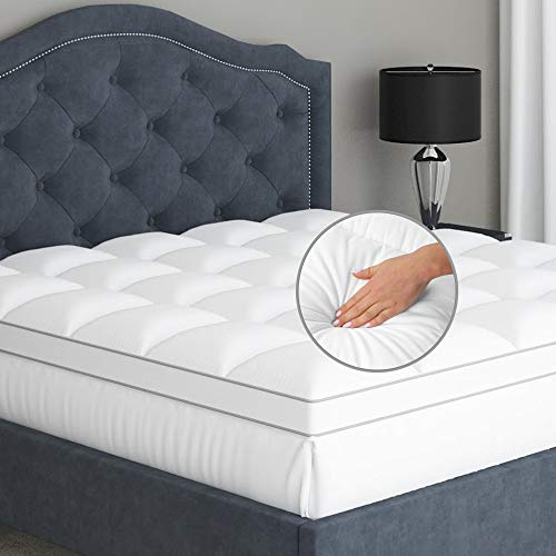 Sleep Mantra Luxury Mattress Topper Double Size - Soft and Cool, 100% Pure Cotton, Durable and Water-Resistant Pillow Top, Optimum Thickness with Down Alternative Fill, 30cm Deep Pocket Skirt