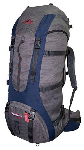 Tashev Sac de Trekking Alpin 80 Plus 15 Litres Gris - Blue - Rouge