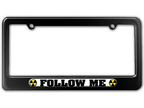 Graphics and More Follow Me Fallout Shelter Symbol License Plate Tag Frame - Color Gloss Black
