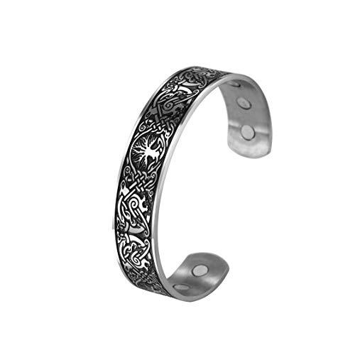 cooltime vogels en bomen gegraveerd roestvrij staal armband manchet met magneten (zilver zwart)
