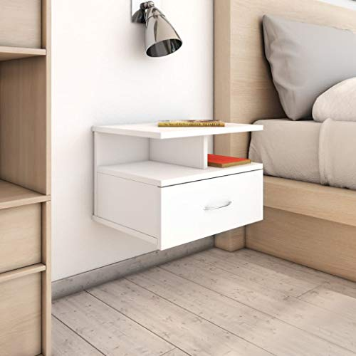 Tidyard Mesita Noche Flotante 2 uds Diseño de Cabecero Clásico. Aglomerado Blanco 40x31x27 cm