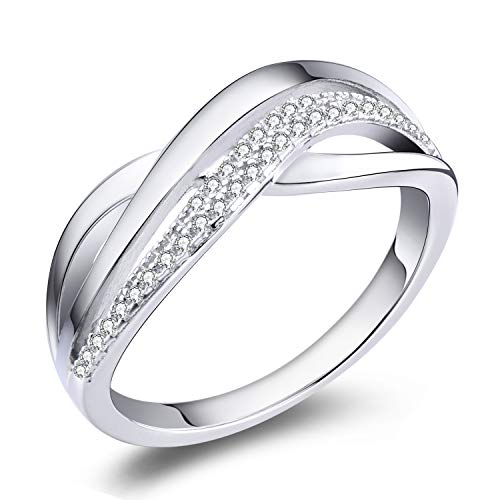 YL Anillo cruzado Plata de ley 925 3A Circonita X anillo cruzado para mujeres(Tamaño 12)