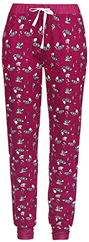 Alicia en el País de Las Maravillas Time After Time Mujer Pantalón de Pijama Rosa-Blanco S